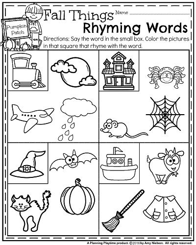 Fall Kindergarten Worksheets for October - Fall Things Rhyming Words.