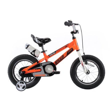 RoyalBaby Space No. 1 Aluminum Kid's Bike with training wheels, for boys or girls, Perfect gift for kids, 14 inch wheels, Orange