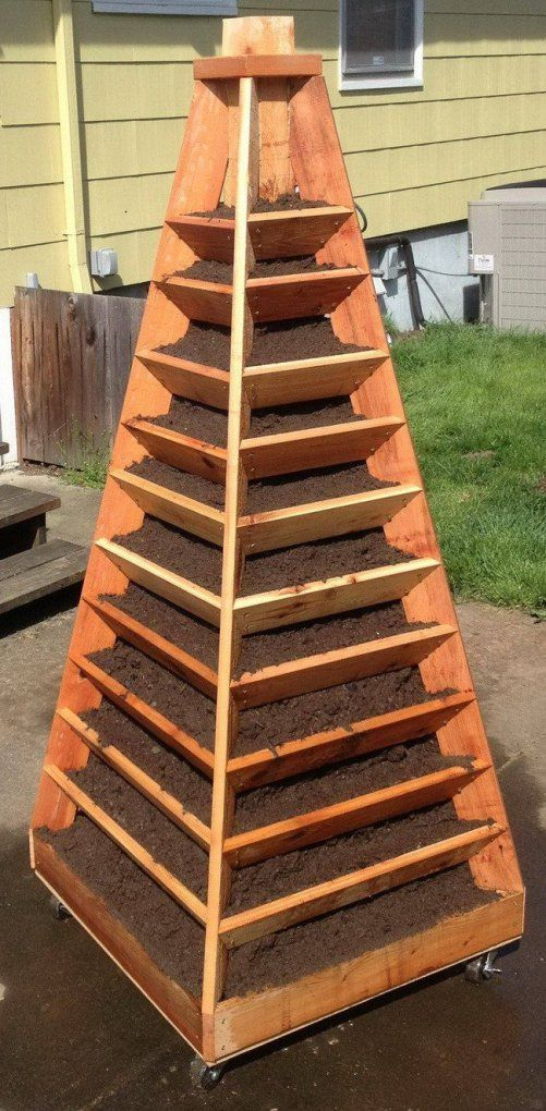 If space is an issue, consider a vertical garden pyramid tower. Complete how-to from RemoveandReplace.com here.