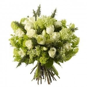 Amarylis and Rose Bouquet - White Amarylis, White Avalanche Roses, White Lilac and Gelder Rose.