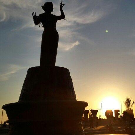 Sunset at Losari Beach, Makassar city, Indonesia