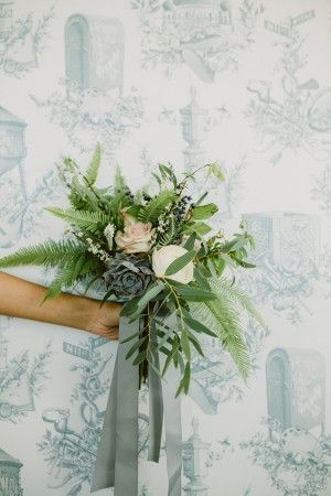 greenery bouquet - photo by Amber Gress http://ruffledblog.com/debonair-wedding-at-the-wythe