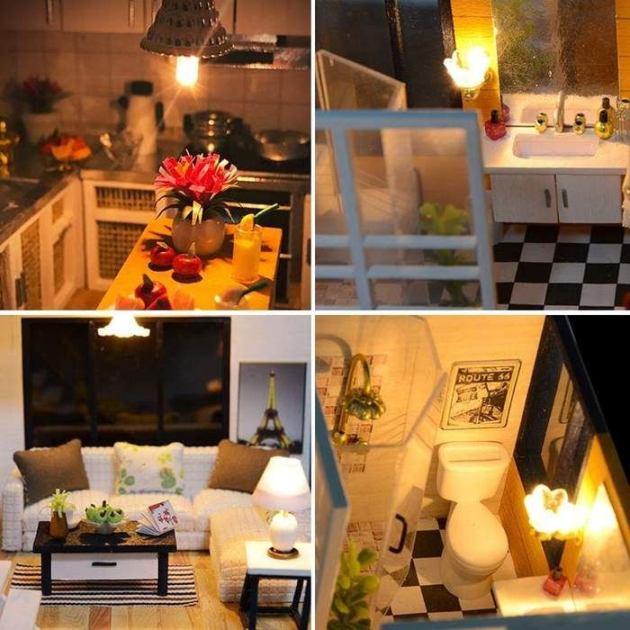 DIY Wooden Loft Apartments Dollhouse Miniature KitFurniture LED Light Gifts