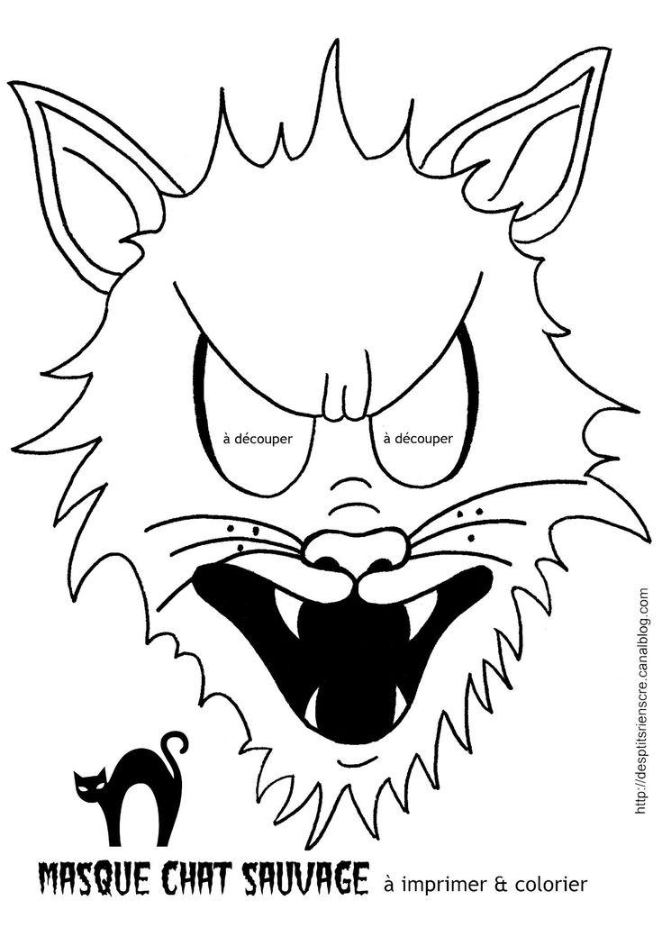 Les 25 meilleures id es de la cat gorie masque chat sur pinterest mascaras mod le de masque - Chat coloriage masque ...