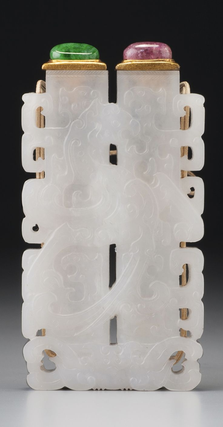 A WHITE JADE 'CHAMPION'S VASE' DOUBLE SNUFF BOTTLE QING DYNASTY, QIANLONG PERIOD