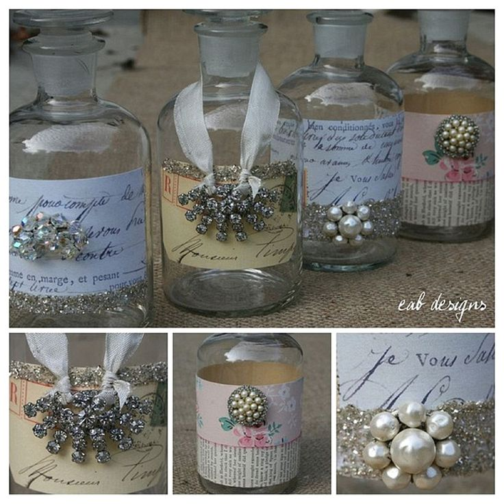 Apothecary jars with vintage labels & sparkly brooches