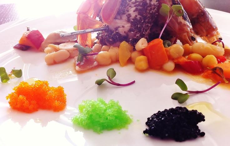 Surf, DaCozinha edition. Chicken breast, fresh red prawns, and fake caviars: tobiko, masago and seaweed.