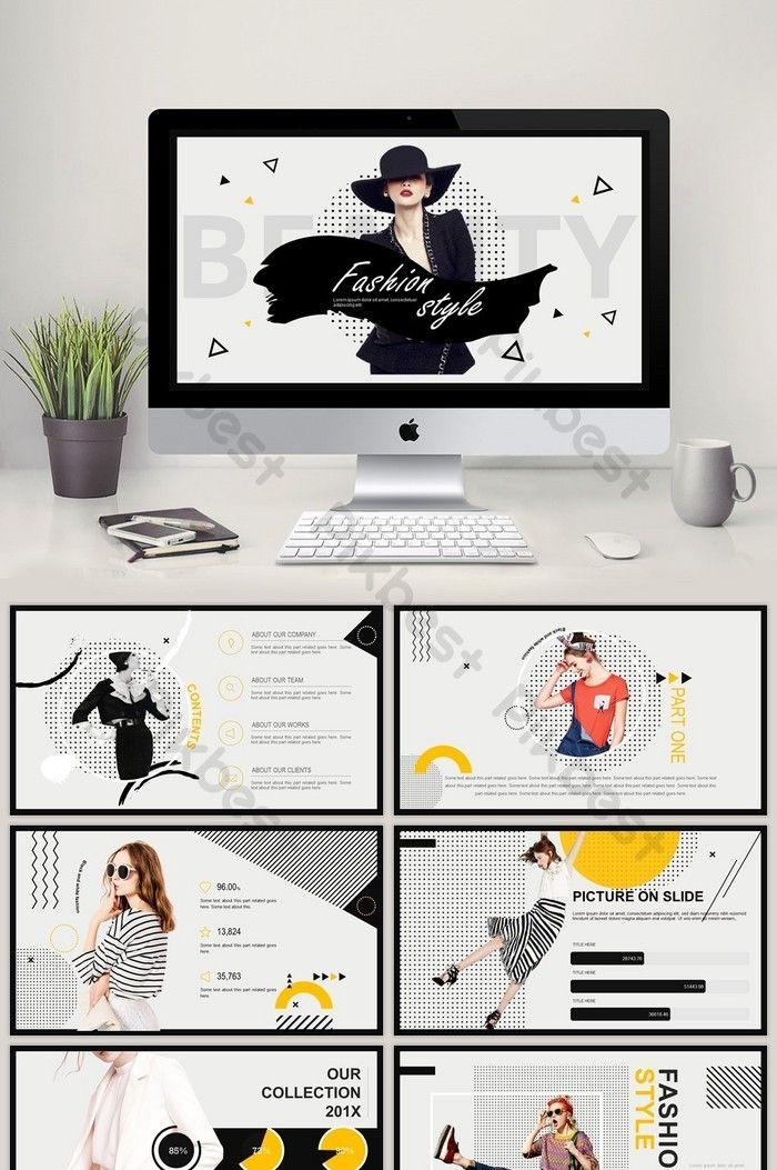 fashion geometric mosaic minimalist line product release ppt