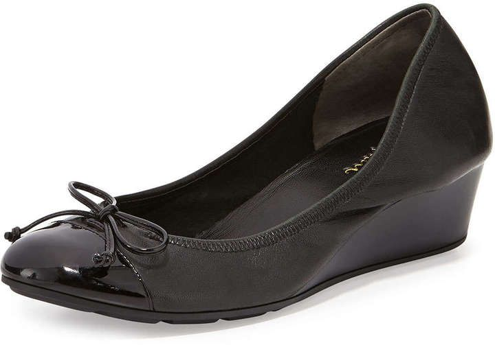 $120, Cole Haan Air Tali Leather Wedge Pump Black. Sold by Neiman Marcus. Click for more info: https://lookastic.com/women/shop_items/243901/redirect