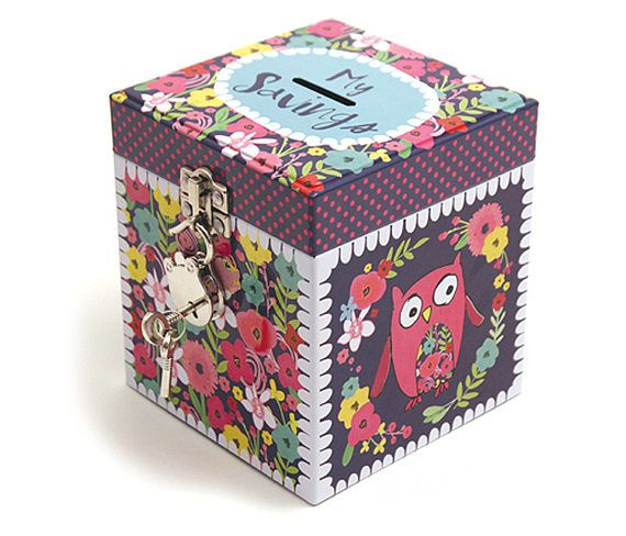 MT05 Owl with flowers - My savings money tin with lock, money box, gift, for a girl,teen gift, gift,lockable money tin, childrens money box.