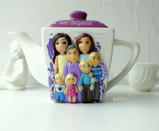 """Ceramic teapot, decorated with family, grandmother and grandchildren out of polymer clay.  """"Grandma Gift"""" KSENZA"""