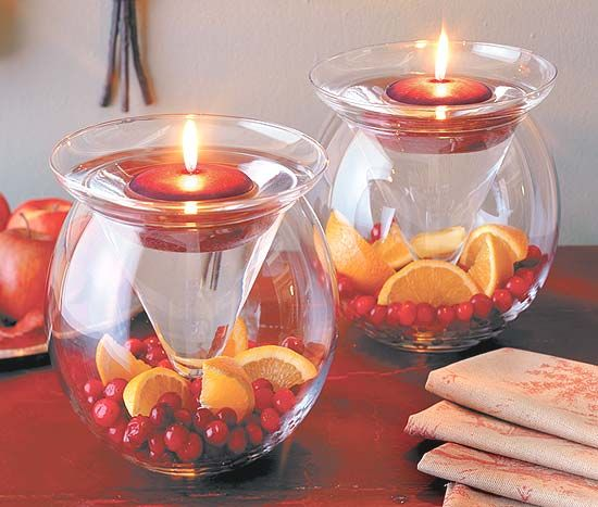I like this concept for centerpieces..fishbowl with martini glass and floating candle