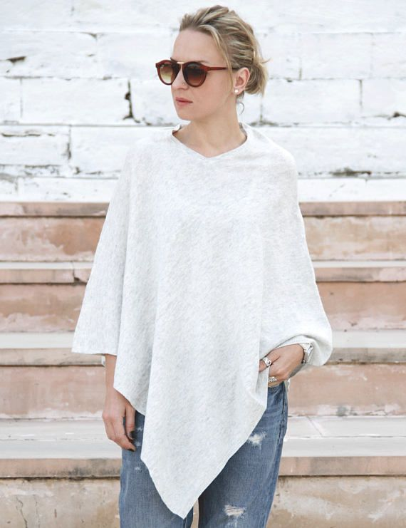 White cashmere poncho light poncho knitted poncho cashmere
