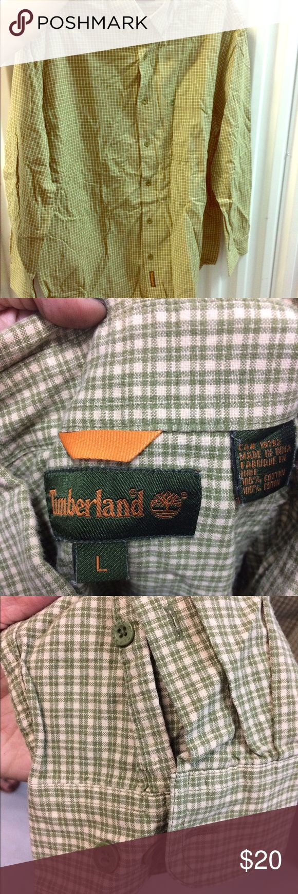 Timberland sz L green & white plaid button down Timberland sz L green & white plaid button down. Green/khaki and white plaid button down shirt with green buttons on the sleeves. Men's size large. Preowned but looks new. #timberland #large #green #khaki #plaid #white #buttondown #comfortable #career #mens #preowned #likenew Timberland Shirts Casual Button Down Shirts