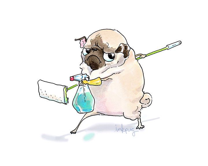 Deep Clean Pug Art Print – Funny Home Decor for Cleaning Day, Pug Art for Chore Chart by Inkpug