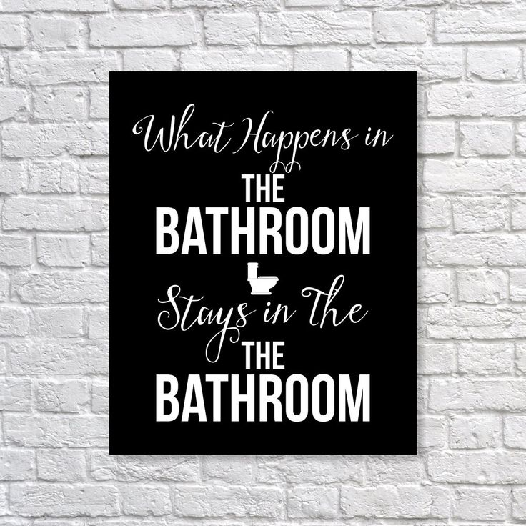 Bathroom Art Print 'What Happens In The Bathroom Stays...' Humor Art - 11 Main