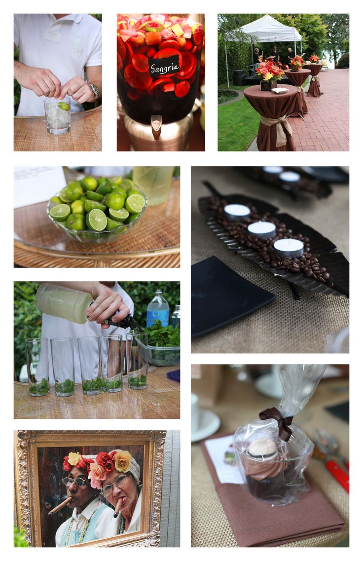 Havana theme...mojitos, cuba libre, coffee beans, fedora adorned cupcakes, cigar ladies mounted in beautiful guilded frames, lakeside setting, designed by Cindy Peterson