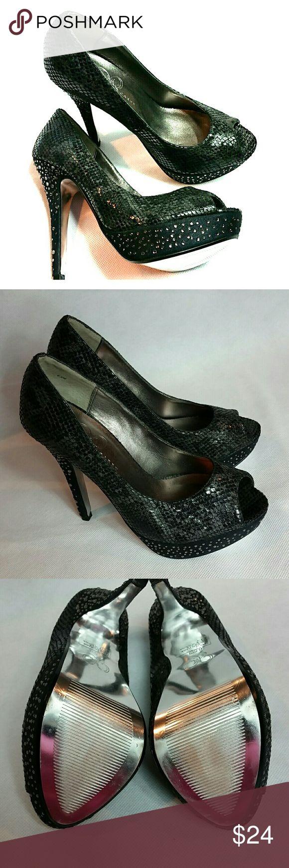 Mariah Carey Size 6.5 Faux Animal Print Heels Very cute size 6.5 Mariah Carey faux animal print Gray and Black bling detail heels. Mariah Carey  Shoes Heels