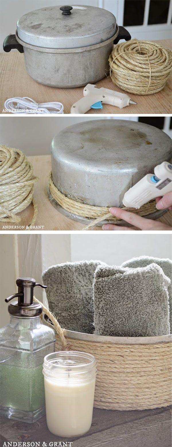 Erstelle einen Badehandtuchkorb mit Sisalgarn und einem Secondhand-Vorratsbehälter
