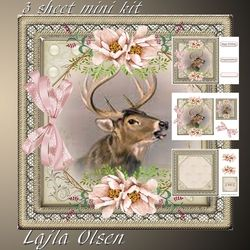 Deer and pink flowers on Craftsuprint - View Now!
