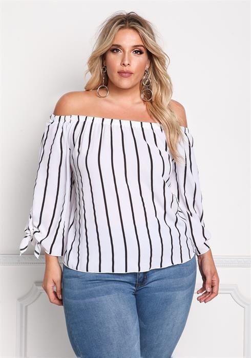 $23.96---3X---Plus Size Pinstripe Off Shoulder Blouse