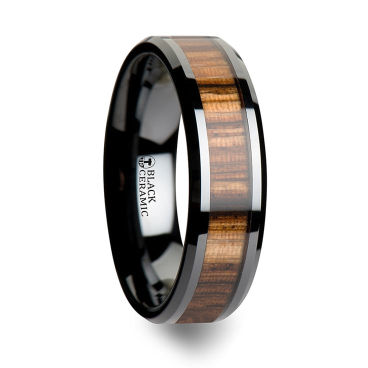 8mm Silver Tungsten Koa Wood Ring With Tungsten Stripe - Free ...