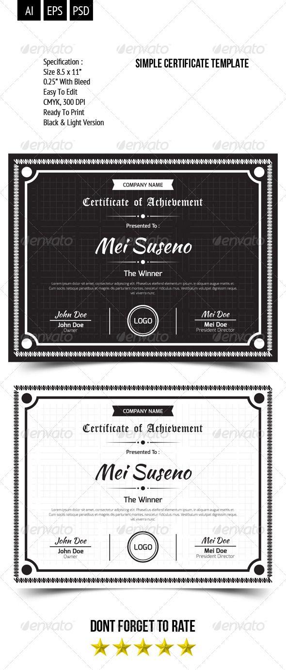 Simple Certificate Template Certificate Templates Simple And