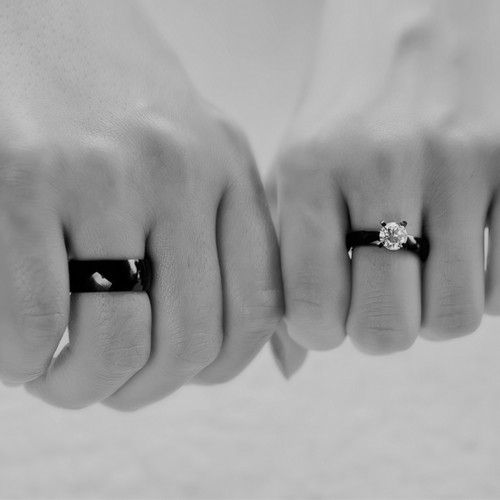 black weddingengagement ring solitaire white cubic zirconia black band ring for men - Black Wedding Rings For Him And Her