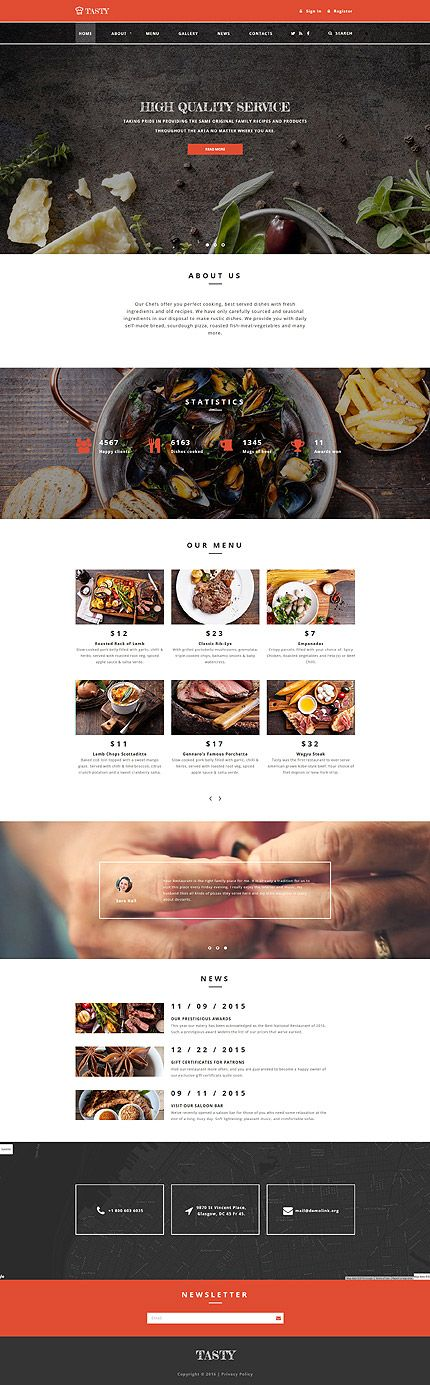 Template 58809 - Tasty Restaurant  Responsive Website Template