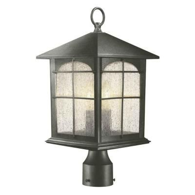 Home Decorators Collection Brimfield 3 Light Outdoor Aged Iron Post Light