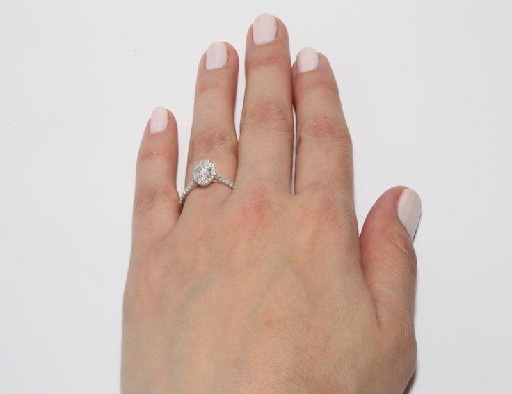 14K White Gold Halo Shank Diamond Engagement Ring (Oval Center) | 17307W14 - Mobile