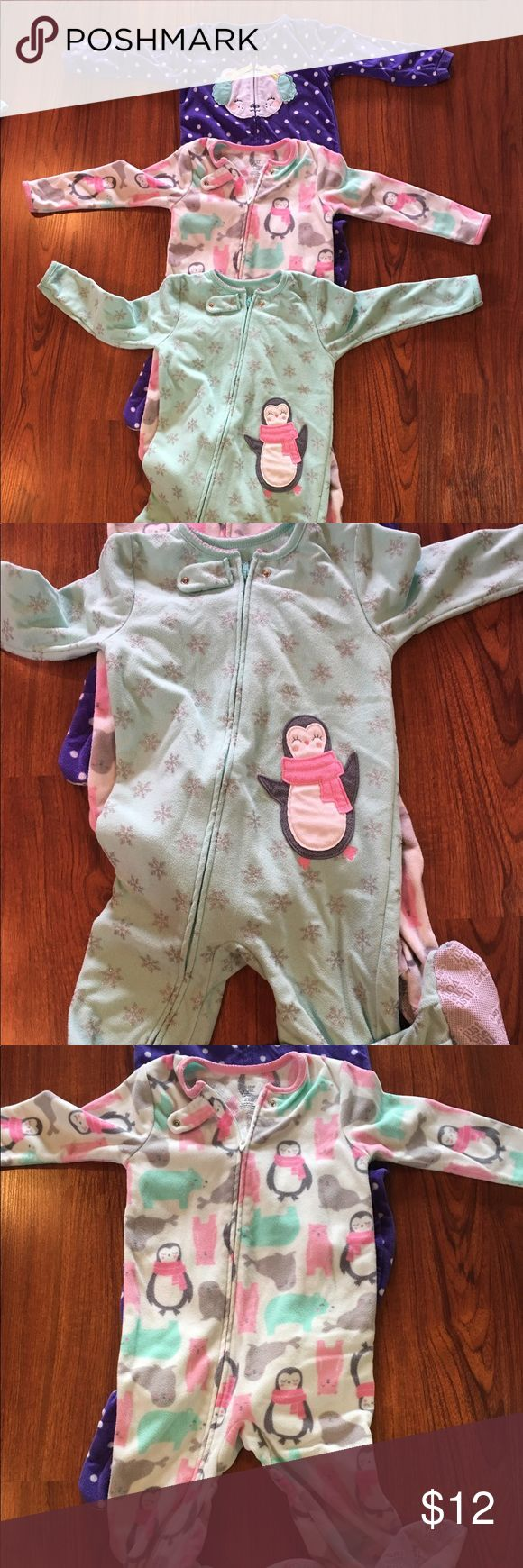 Just one You by Carter's lot of 3 PJS 3T All Carter's brand. No stains or rips. Have skid resistant footies. Fleece like material. Zipper and snap front closure Carter's Pajamas Sleep Sacks