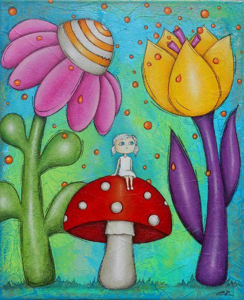 """Tableau original, mixed média  """"La fillette au champignon"""""""