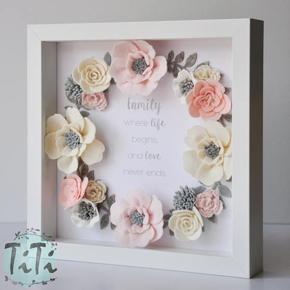 Pastel felt flowers box frame Floral Wall Art Picture box