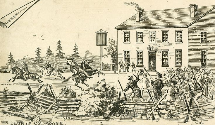 The Battle of Montgomery's Tavern, an incident in the Upper Canada Rebellion, took place this week in 1837, 180 years ago. This picture shows the shooting of Col. Robert Moodie, a Loyalist commander, who unadvisedly fired a shot into the air on December 4th. In return, several rebels shot him. By December 7, the British army were firmly back in charge and the pub was burnt to cinders. Today, it's an apartment building. So very Toronto!