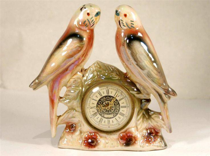 VINTAGE BUDGERIGAR CERAMIC CLOCK -JEMA Made in HOLLAND - 2 PINK Budgie Birds