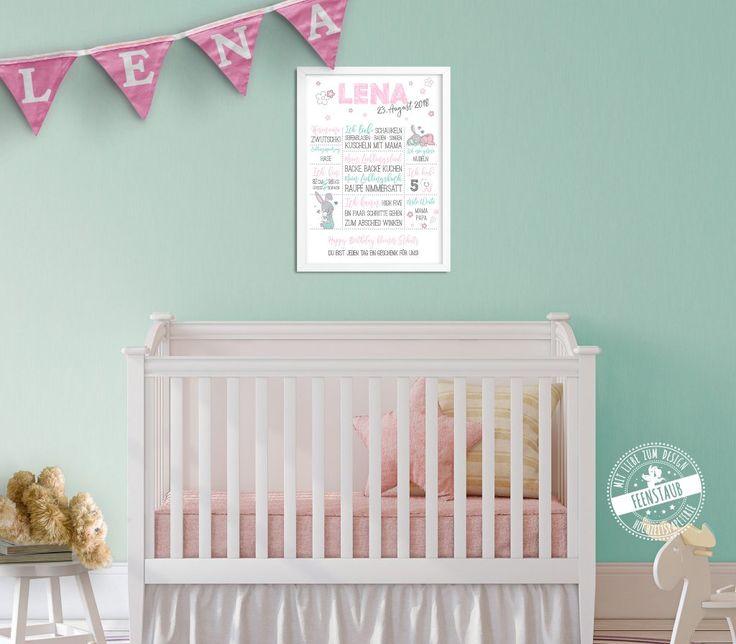 Geschenk zum ersten Geburtstag. Meilensteine als Babyprint festhalten.   Erste Worte, Lieblingsbuch, Lieblingslied, Lieblingsspielzeug... Print   mit süßen Hasen von feenstaub.at