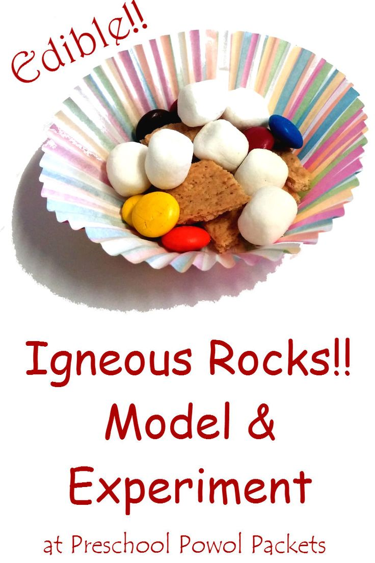 Edible igneous rocks model science experiment! Perfect for preschool, kindergarten, 1st, 2nd, 3rd, & 4th grades...and older kids too!