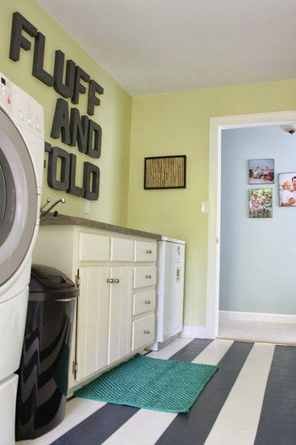 Dramatic laundry room reveal + DIY painted floor tutorial