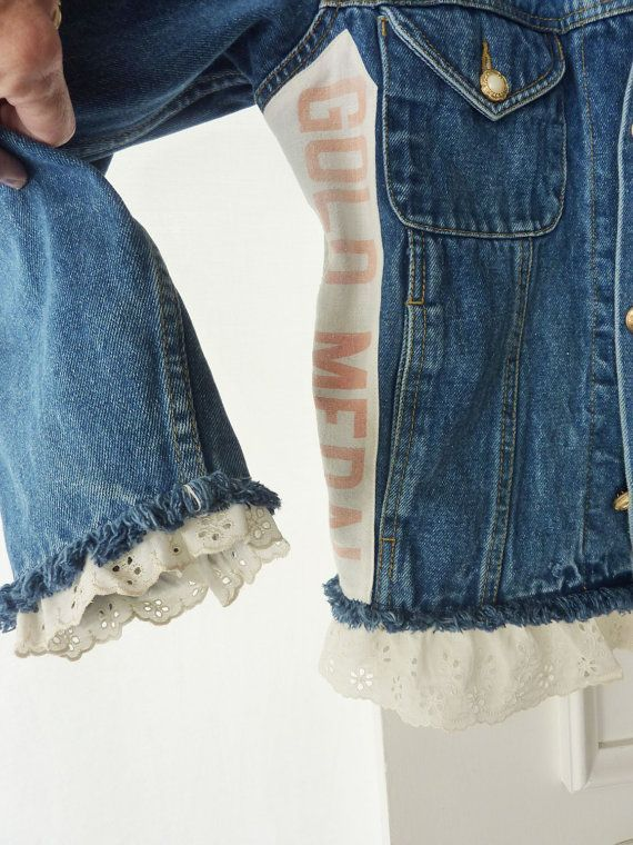 Womens, upcycled, country chic, denim jacket, jean jacket, One-Of-A-Kind , medium size, artsy, Bon Jour jacket, vintage flour sack, vintage eyelet lace, vintage buttons, rustic, cowgirl, farmgirl, rustic, FREE SHIPPING! Unique up-cycled denim jacket embellished with a rustic country flour