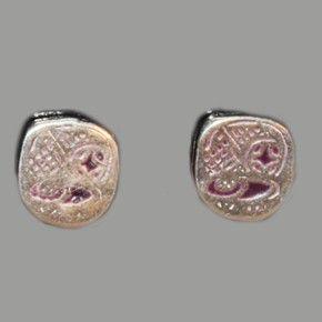 Aretes MAYA, mes POP 1 cm, en plata 925 y esmalte lila $ 500 mx Identificador: 125