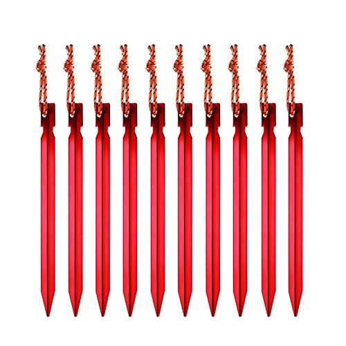 Accmor 10 Pack Aluminum Tent Stakes with Reflective Rope Premium Ultralight Metal Garden Stakes Triangular Nails Heavy Duty Red Rhombic 7 Tent Pegs  Pouch for Camping Gardening *** Visit the image link more details. Note:It is Affiliate Link to Amazon.