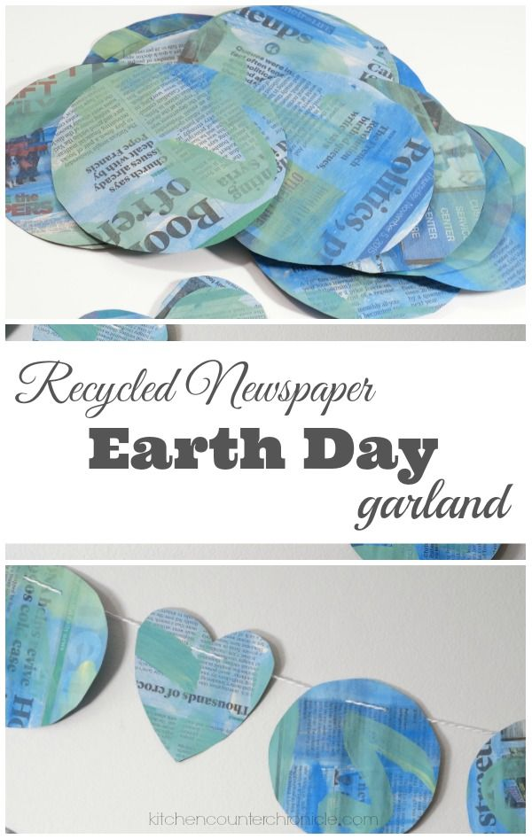 Recycled Newspaper Earth Day Garland kids can make to decorate home or classroom!