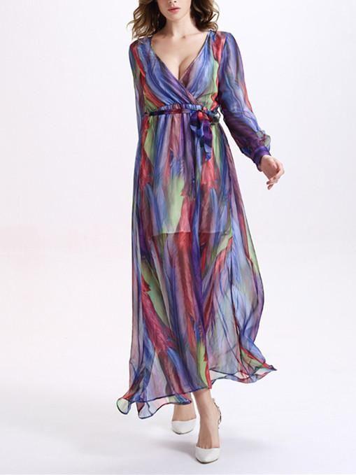 94426c836ed Beautiful Colorful Stripes Long Sleeve Deep V Neck Maxi Dress – oshoplive