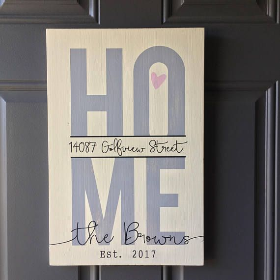 Home Sign with Address - Family and Est Wood Sign - Home is where the heart is - Custom Closing Gift - Personalized Wood Sign - Housewarming
