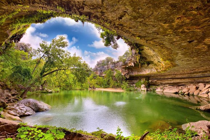 Hamilton Pool Preserve - A natural spring area located in Dripping Springs, Texas just west of Austin. It is a gorgeous swimming hole but check first before going; they limit the number of people allowed into the preserve. It can be a long wait!