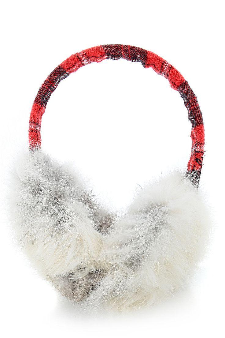 SCOTTISH Red Rabbit Fur Women Earmuffs