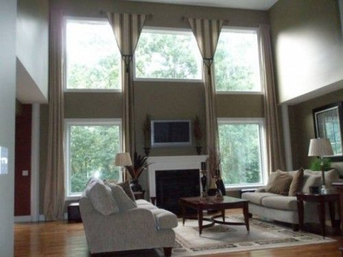 drapery ideas for tall windows decorating a two story great room