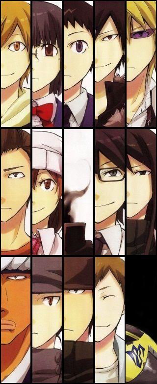 Kida, Anri, Mikado, Izaya, Shizuo, Seiji, Mika, Celty, Shinra, Nadie, Simón, Erika, Walker, Dotachin