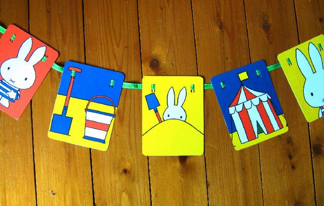 Paper Bunting, Miffy at the Seaside, Nursery Decor, Summer party garland £10.00